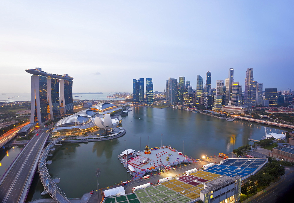 The Helix Bridge and Marina Bay Sands, elevated view over  Singapore, Marina Bay, Singapore, Southeast Asia, Asia