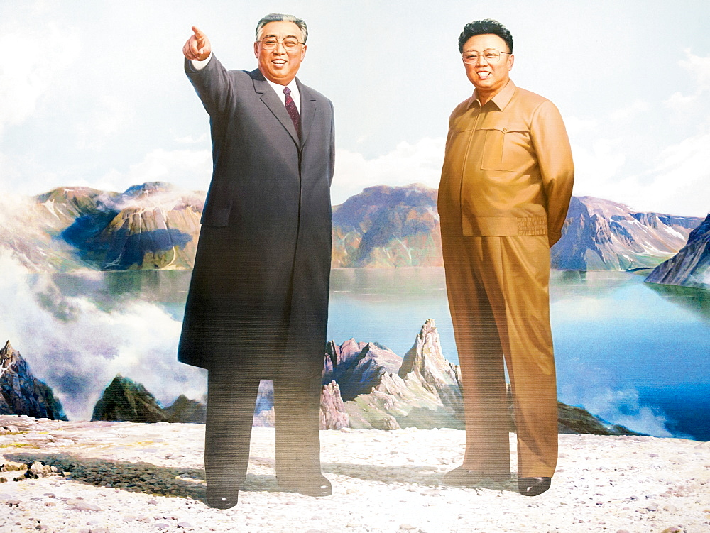 Painting of the Great Leaders, Kim Jong Il and Kim Il Sung, Pyongyang, Democratic People's Republic of Korea (DPRK), North Korea, Asia