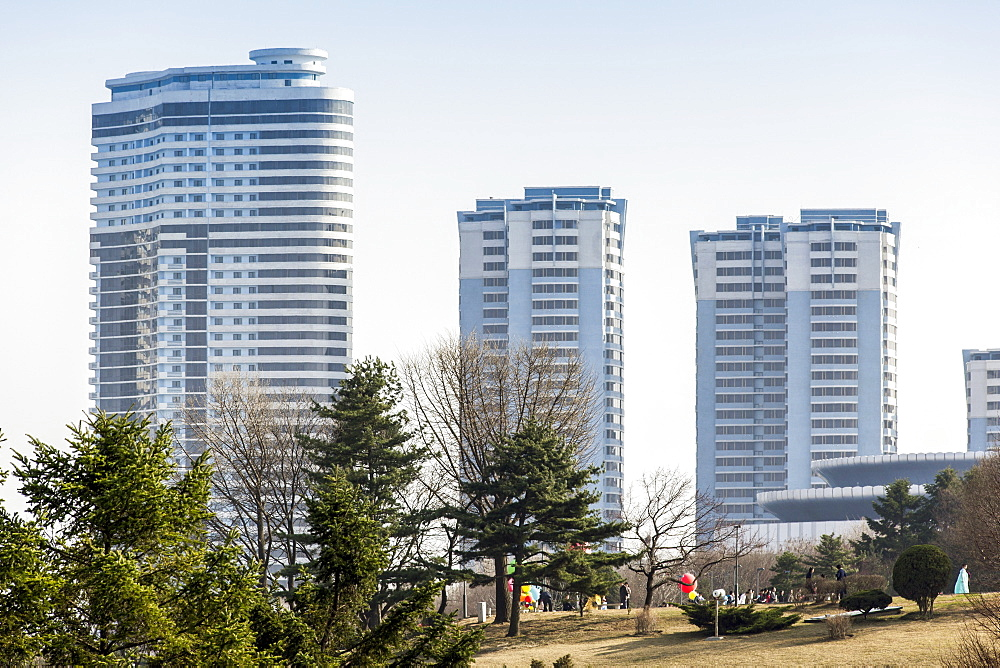 Modern apartment buildings in the city centre, Pyongyang, Democratic People's Republic of Korea (DPRK), North Korea, Asia