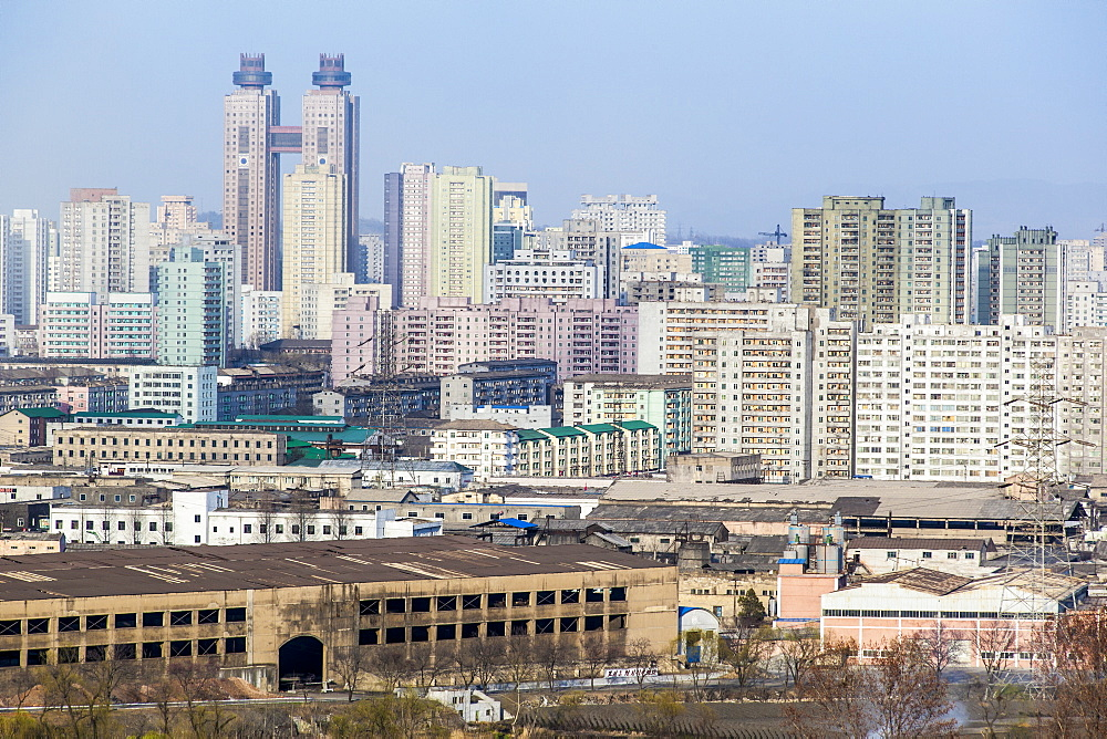 City apartment buildings, Pyongyang, Democratic People's Republic of Korea (DPRK), North Korea, Asia