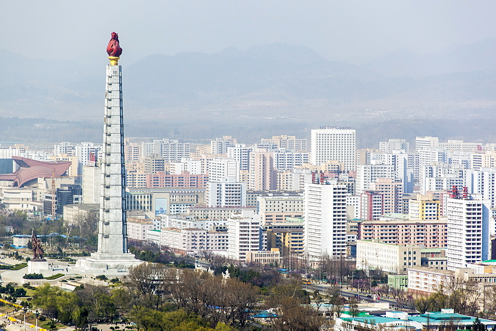 City skyline and the Juche Tower, Pyongyang, Democratic People's Republic of Korea (DPRK), North Korea, Asia