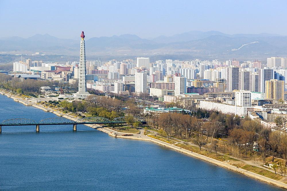 City skyline and the Juche Tower, Pyongyang, Democratic People's Republic of Korea (DPRK), North Korea, Asia