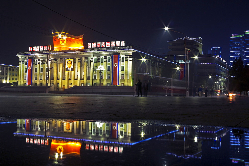 Kim Il Sung Square, illuminated at night, Pyongyang, Democratic People's Republic of Korea (DPRK), North Korea, Asia