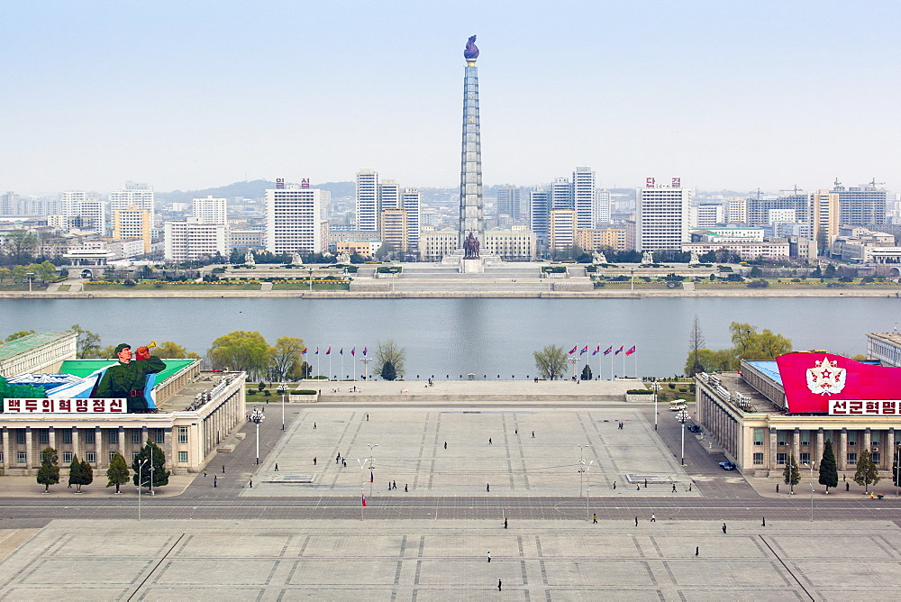 Elevated view over Kim Il Sung Square, Pyongyang, Democratic People's Republic of Korea (DPRK), North Korea, Asia - 794-3558