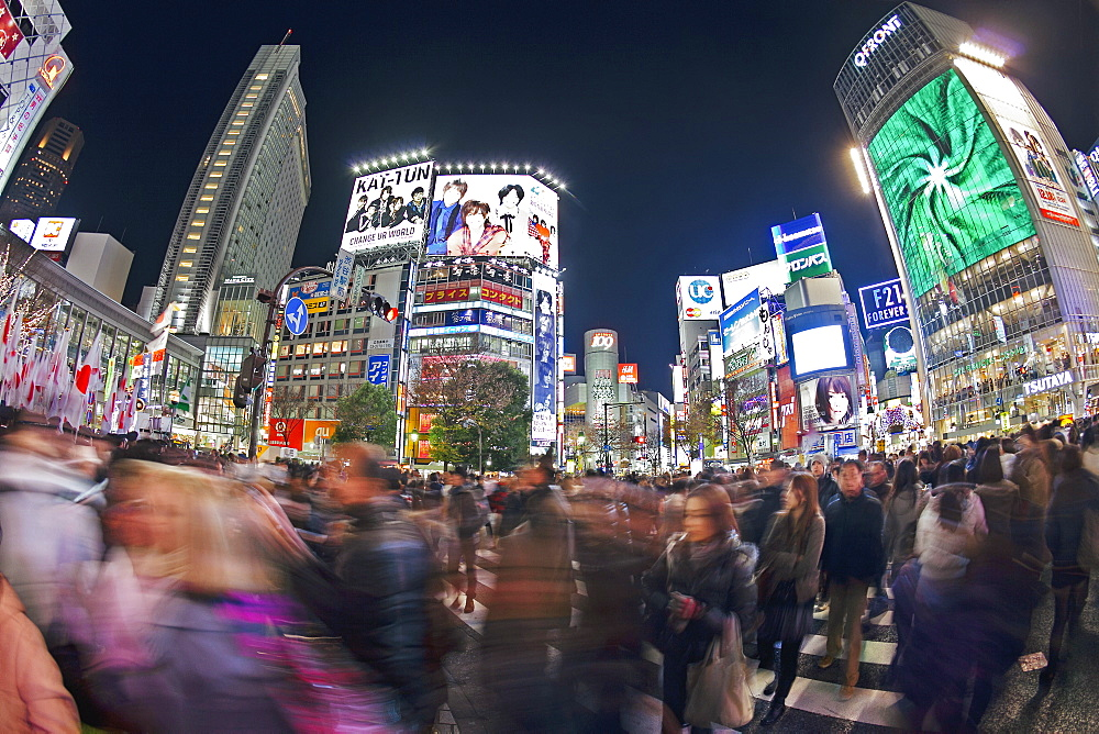 Shibuya Crossing, crowds of people crossing the intersection in the centre of Shibuya, Tokyo, Honshu, Japan, Asia  - 794-3607