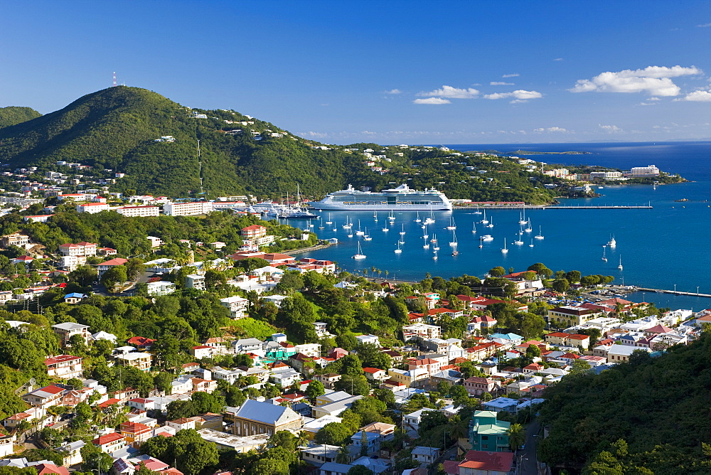 Elevated view over Charlotte Amalie, St. Thomas, U.S. Virgin Islands, Leeward Islands, West Indies, Caribbean, Central America