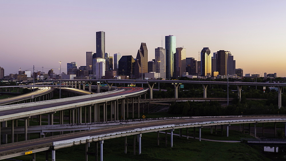 City skyline and Interstate, Houston, Texas, United States of America, North America
