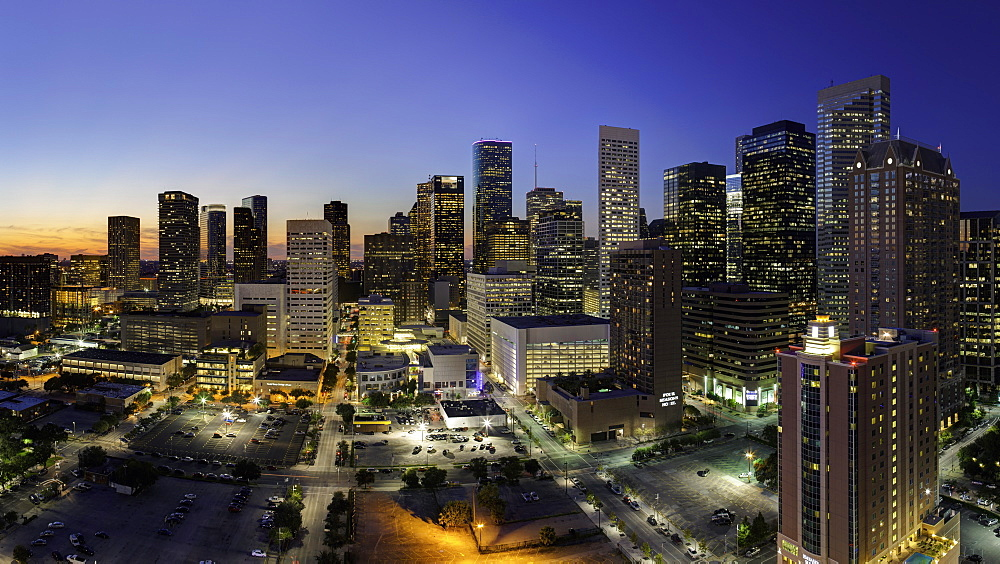 Downtown city skyline, Houston, Texas, United States of America, North America