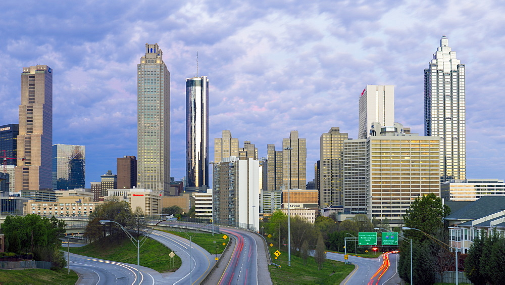 Elevated view over Freedom Parkway and the Downtown Atlanta skyline, Atlanta, Georgia, United States of America, North America