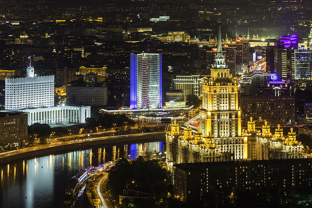 Elevated view over the Moskva River embankment, Ukraine Hotel and the Russian White House, Moscow, Russia, Europe