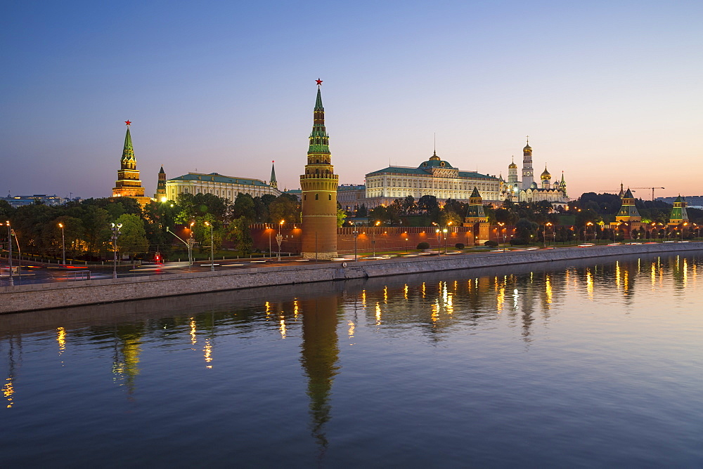 Kremlin churches and towers from Moscow River Bridge, Moscow, Russia, Europe