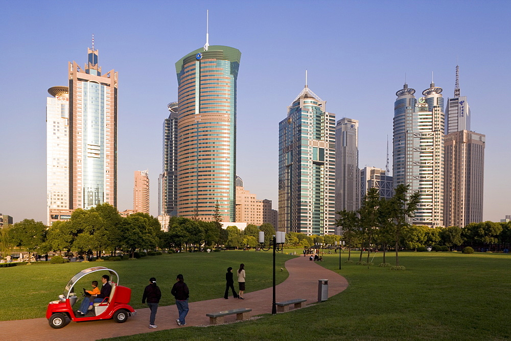 Modern skyscrapers and park in Lujiazui financial district of Pudong, Shanghai, China, Asia