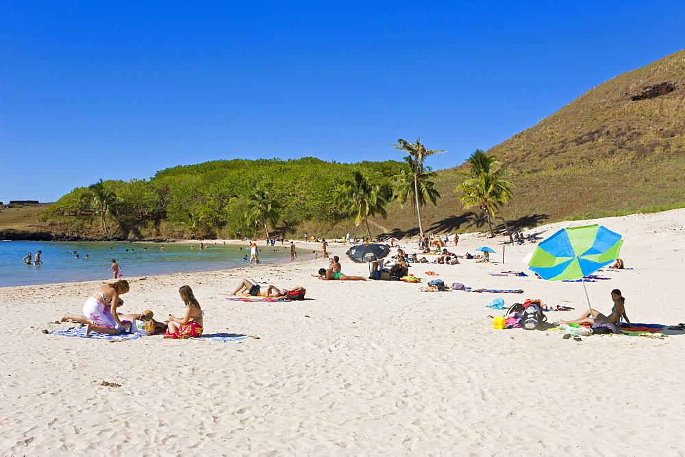 Anakena beach, the Island's white sand beach fringed by palm trees, Rapa Nui (Easter Island), Chile, South America