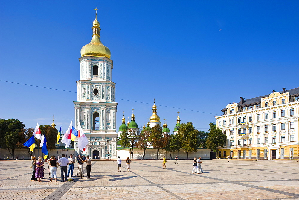 Independence Day, Ukrainian national flags in the square outside St. Sophia Cathedral, UNESCO World Heritage Site, Kiev, Ukraine, Europe