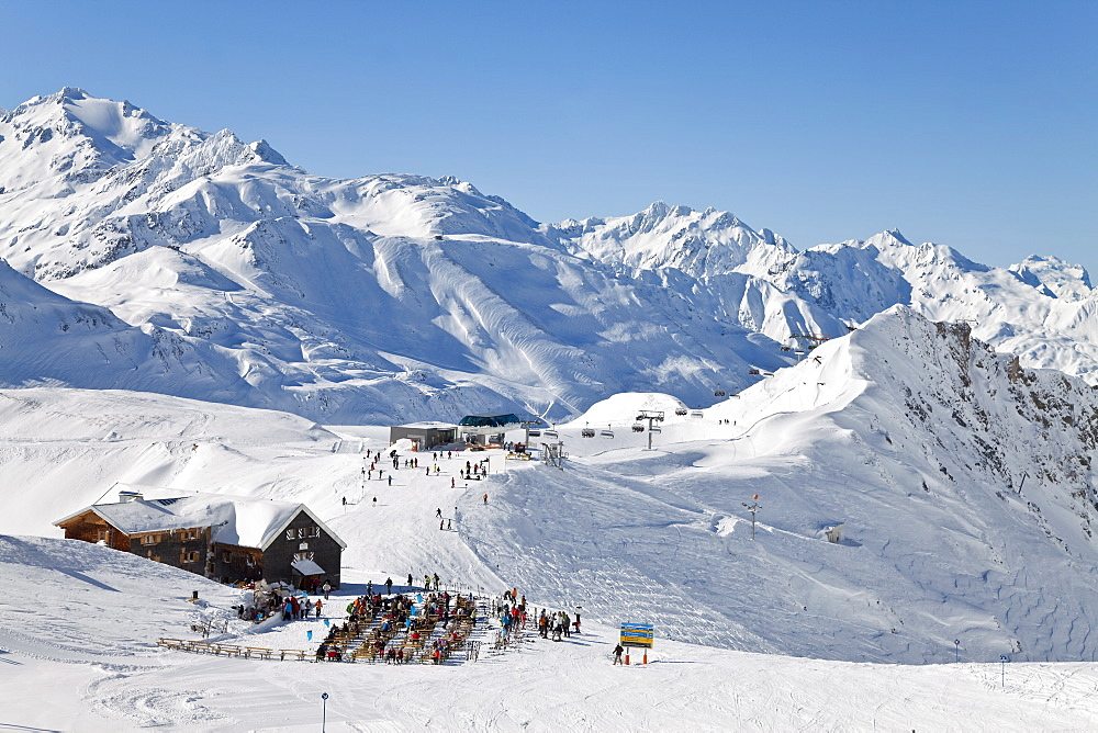 Mountain restaurant, St. Anton am Arlberg, Tirol, Austrian Alps, Austria, Europe