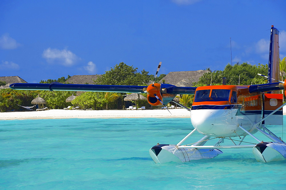 Maldivian Air Taxi parked in a resort in Maldives, Indian Ocean, Asia