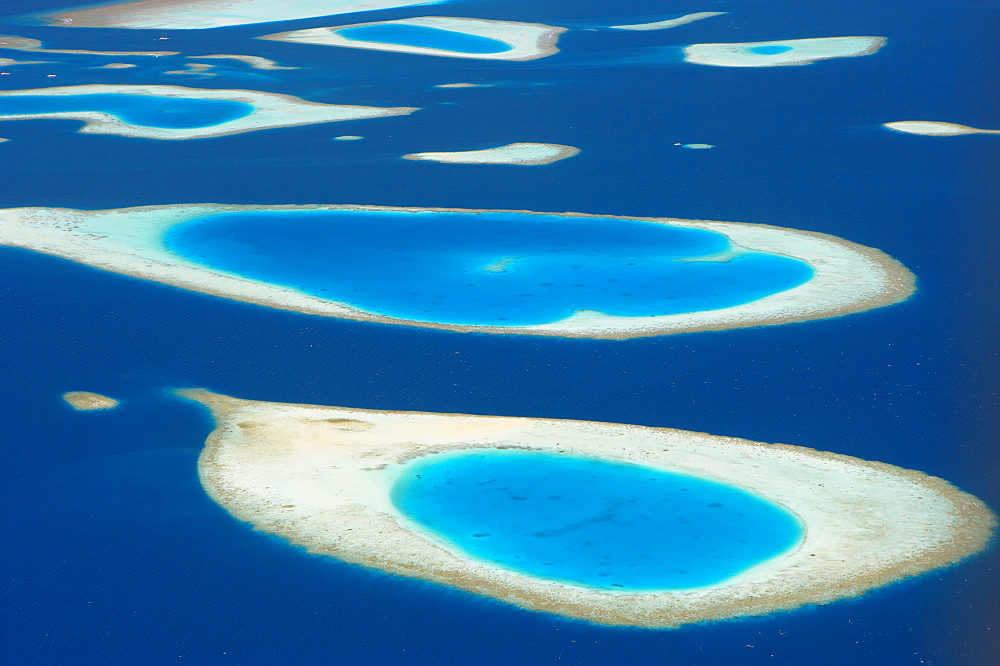 Aerial view of atolls in the Maldive Islands, Indian Ocean, Asia