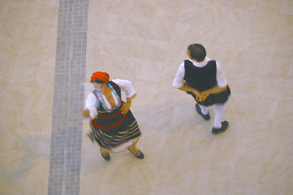 Greek traditional dancing in blurred motion, Greece, Europe