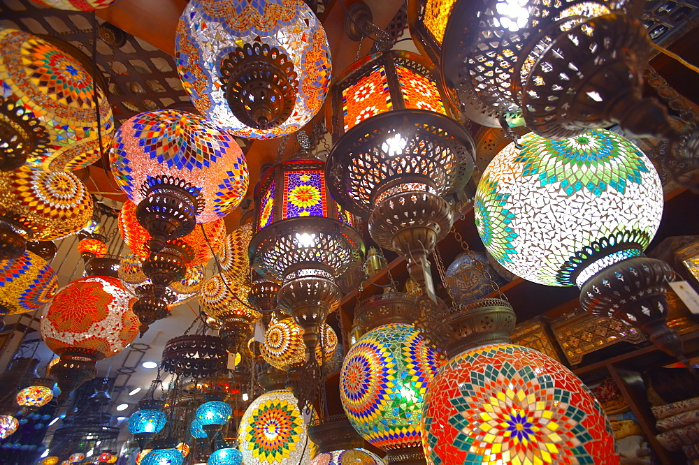 Hanging lamps on sale in souk, Dubai, United Arab Emirates, Middle East