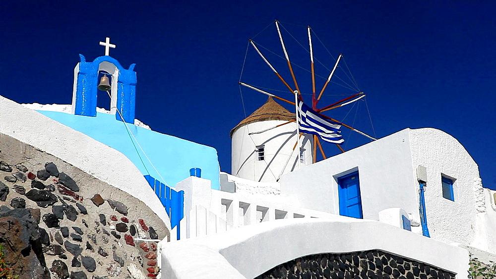 Church, Windmill and Greek Flag, Santorini, Greece - 795-428