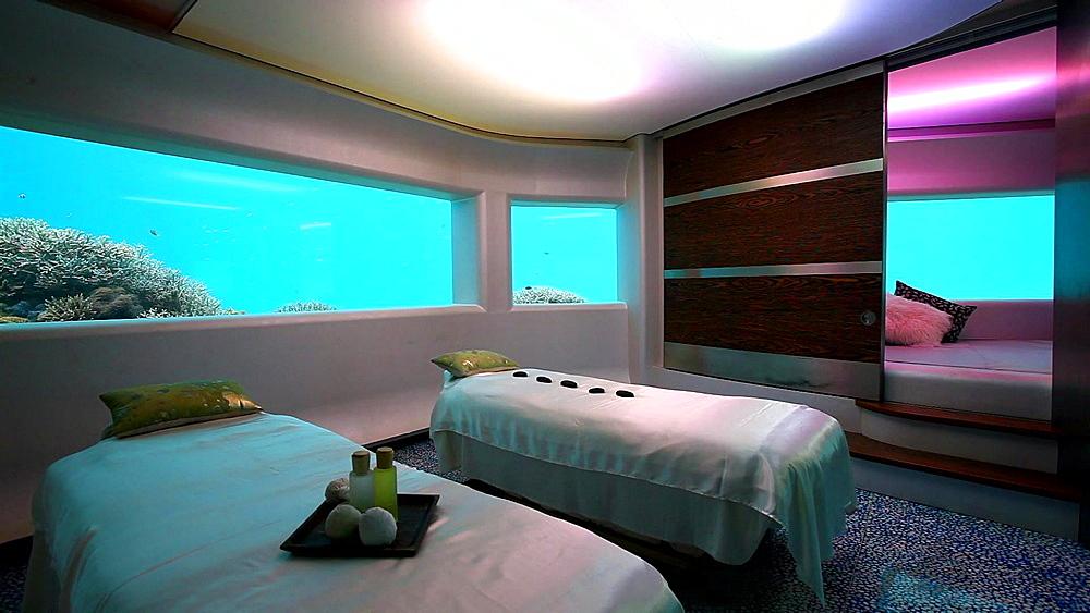 Underwater spa, Huvafenfushi Resort, Maldives, Indian Ocean - 795-444