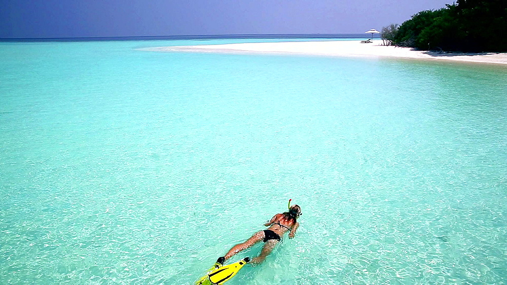 Young woman snorkelling in Maldives, Indian Ocean - 795-481
