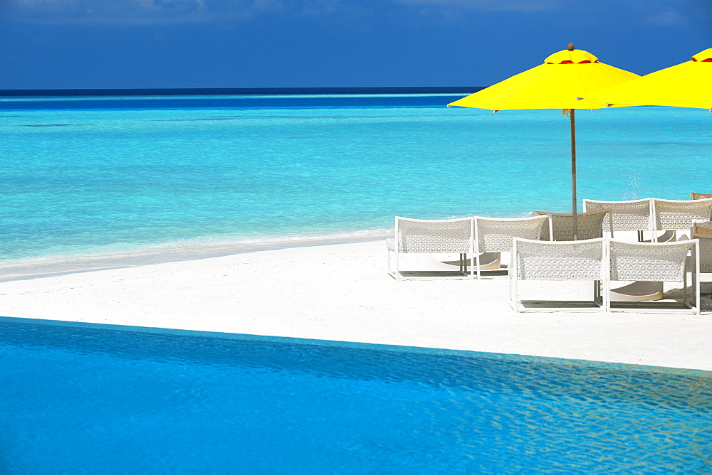 Infinity pool and lounge chairs, Maldives, Indian Ocean, Asia