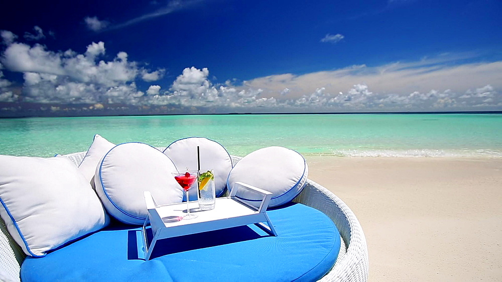 Sofa and cocktails on a tropical beach, Maldives, Indian Ocean  - 795-504