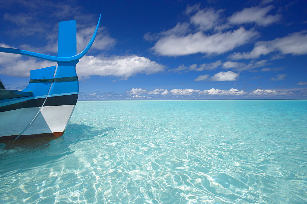 Bow of boat in shallow water, Maldives, Indian Ocean, Asia
