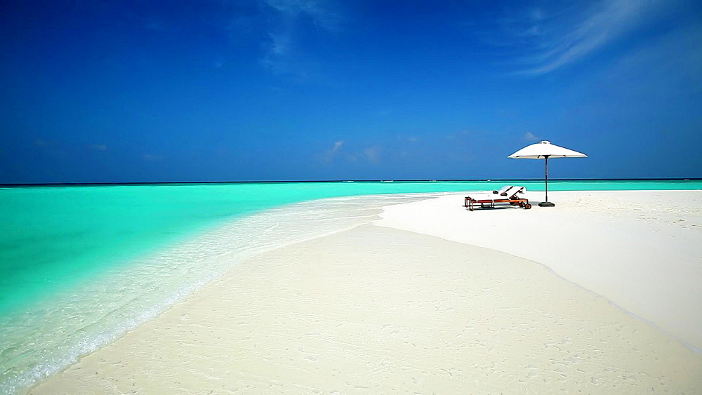 sun loungers on tropical beach, Maldives, Indian Ocean  - 795-511