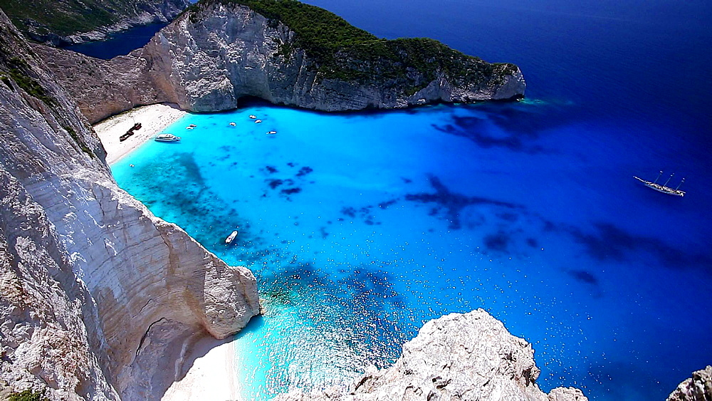 Navagio Beach, Shipwreck Beach at Smugglers Cove', on the coast of Zakynthos, in the Ionian Islands of Greece - 795-523