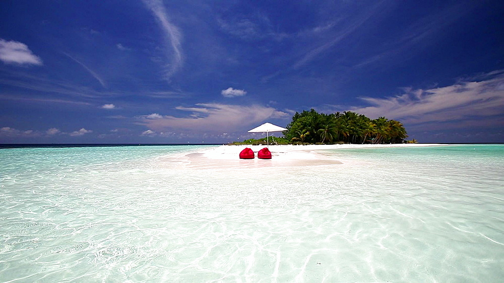 Bean chairs on a tropical dessert island, Maldives, Indian Ocean  - 795-534