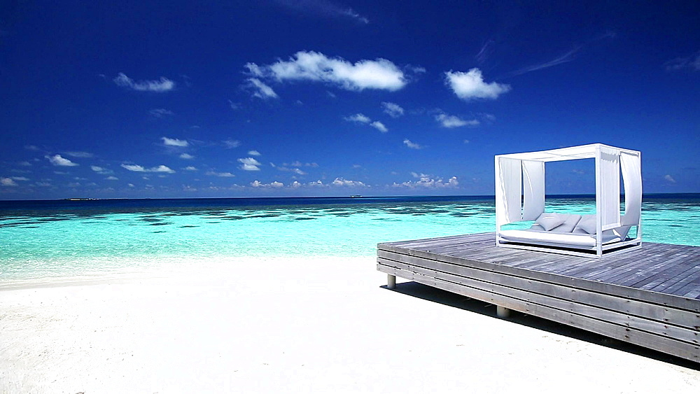 White lounge sofa on a Jetty on a tropical beach, Maldives, Indian Ocean  - 795-545