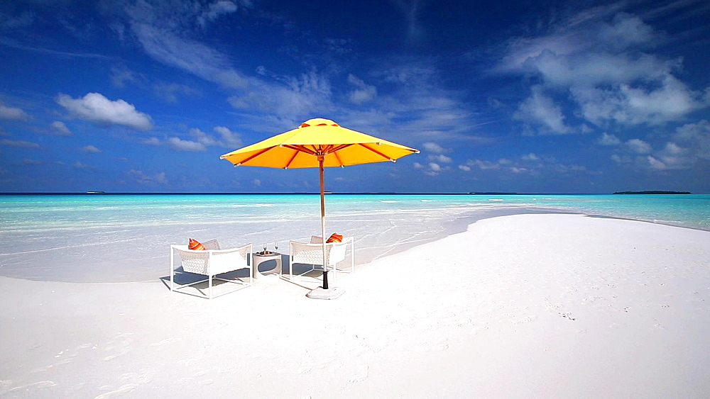 Lounge chairs on a tropical beach, Maldives, Indian Ocean   - 795-557