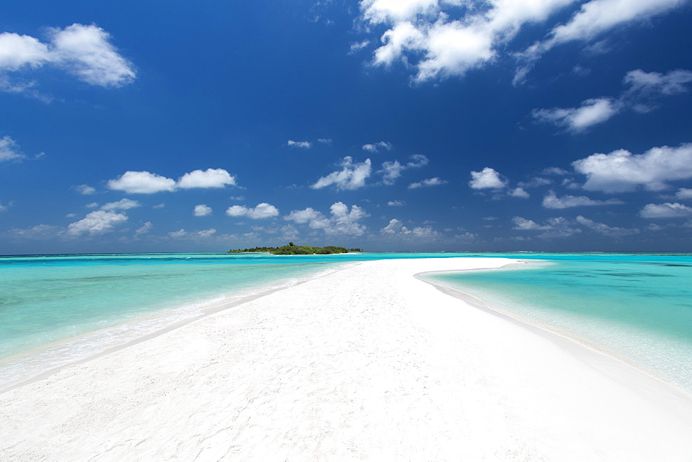 Sandbank and tropical island, Maldives, Indian Ocean, Asia