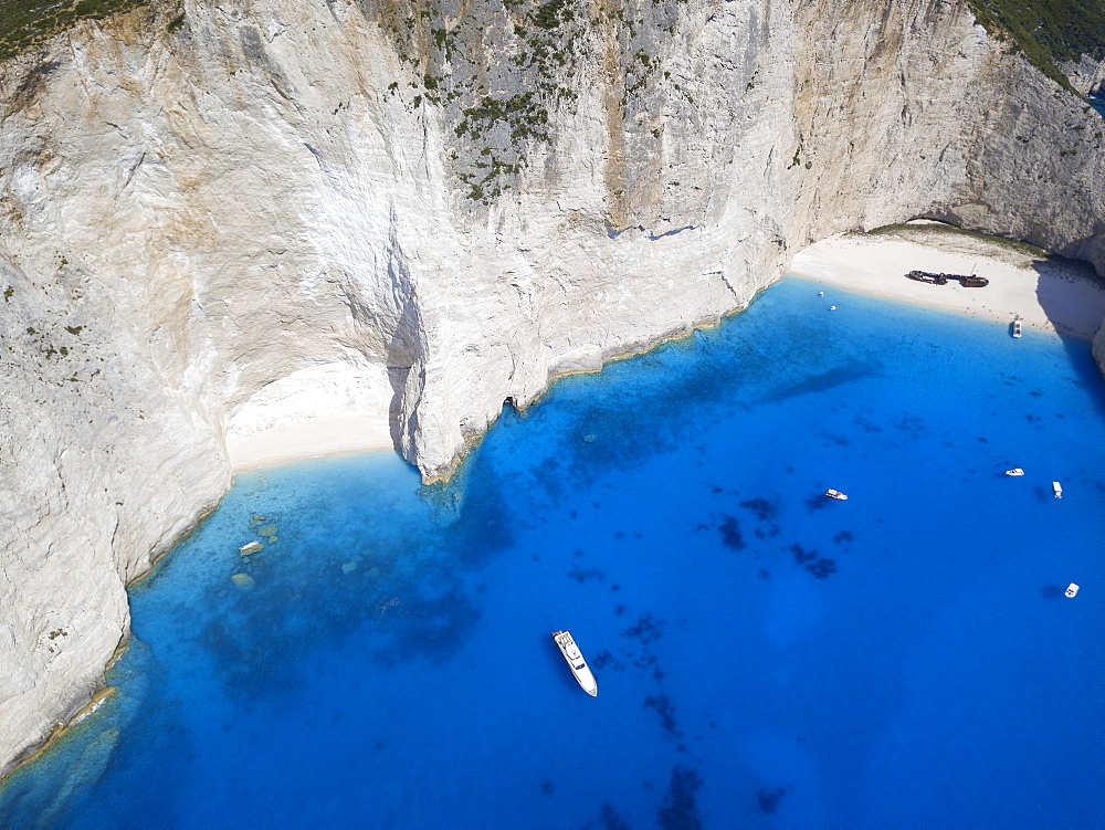 Aerial view of Navagio Beach and shipwreck at Smugglers Cove on the coast of Zakynthos, Ionian Islands, Greek Islands, Greece, Europe - 795-578