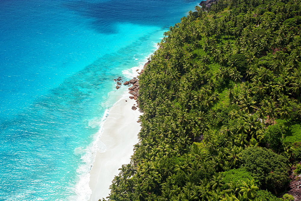 Aerial view of tropical beach and lagoon, Seychelles, Indian Ocean, Africa