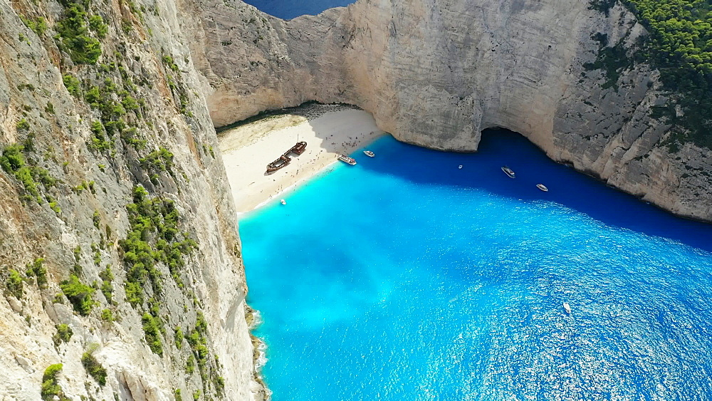 Aerial view by drone of Navagio beach, Zakinthos, Ionian Islands, Greek Islands, Greece, Europe