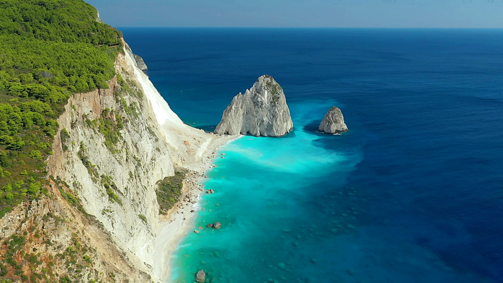 Biggest Greek flag and beautiful beach, Zakinthos, Ionian Islands, Greek Islands, Greece, Europe