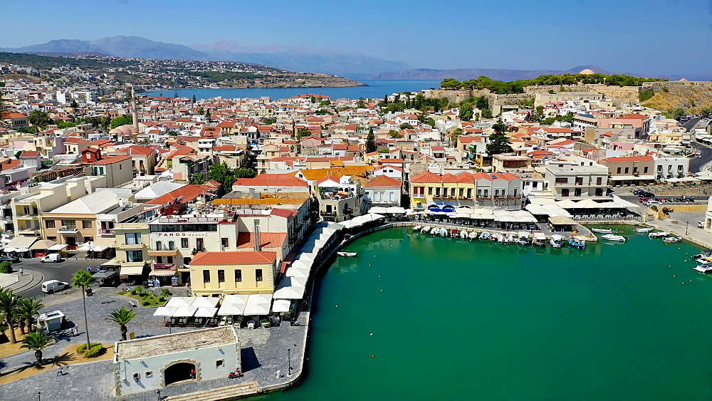 Aerial view by drone of Rethymno old town, Venetian Harbour and fortress, Crete Island, Greek Islands, Greece, Europe - 795-672