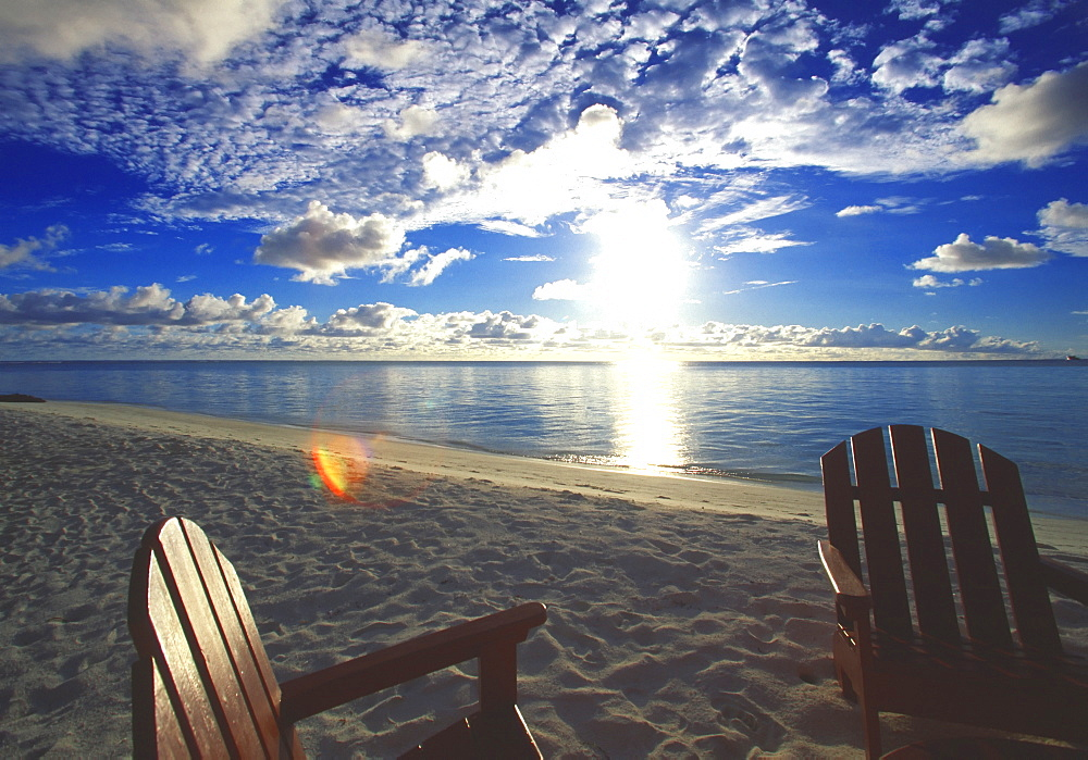 Two deckchairs on the beach at sunset, Maldives, Indian Ocean, Asia - 795-80