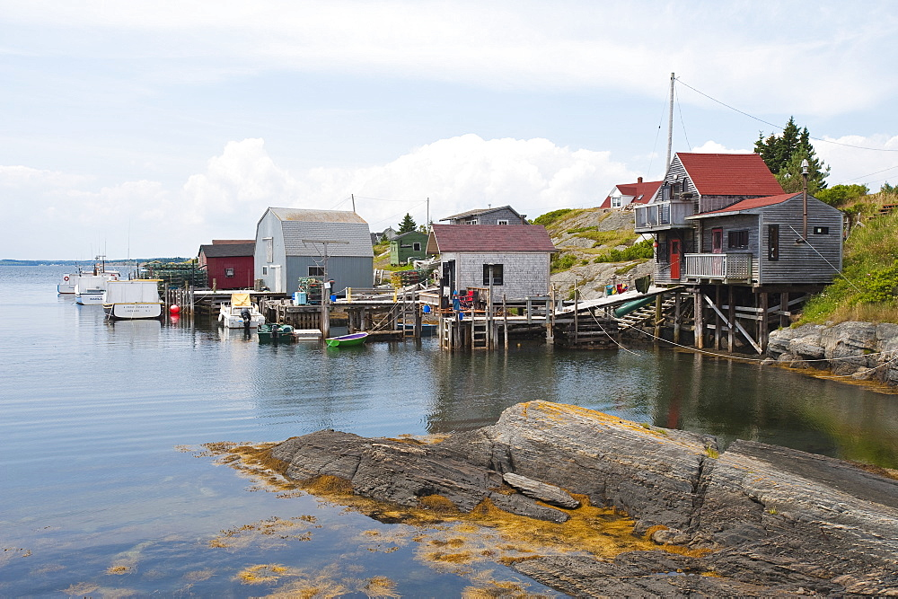 Scene around Blue Rocks in Lunenburg Harbour, Nova Scotia, Canada, North America
