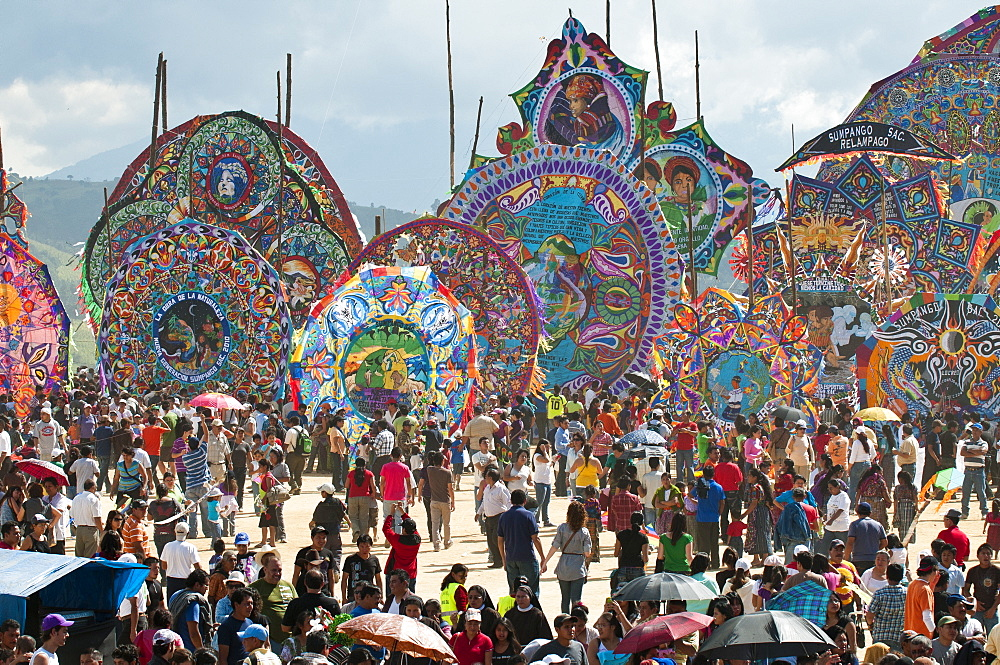 Day Of The Dead kites (barriletes) ceremony in cemetery of Sumpango, Guatemala, Central America - 796-1603