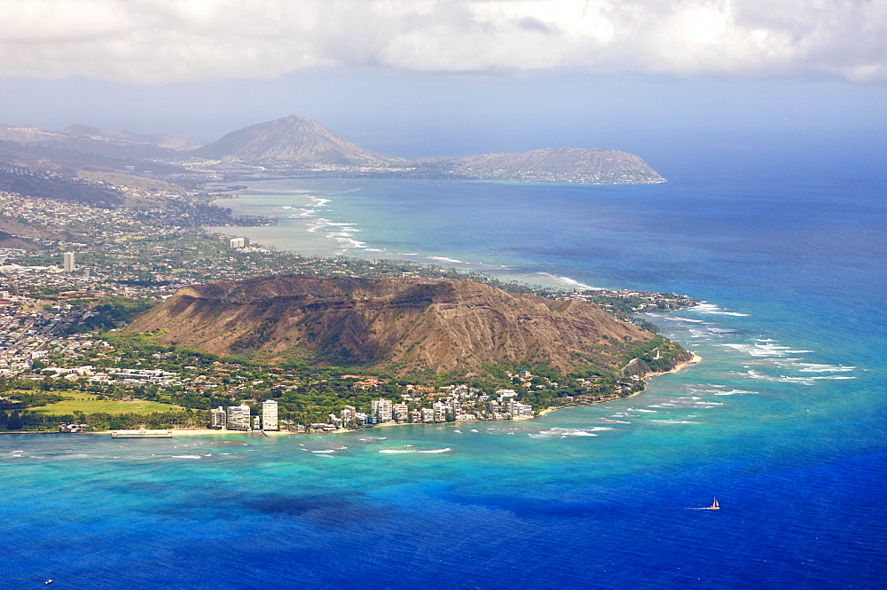 Aerial of Honolulu and Diamond Head, Oahu, Hawaii, United States of America, Pacific, North America