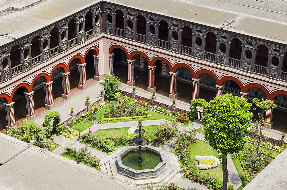 Courtyard of the Convent of Santo Domingo from the steeple of the Church Santo DomingoLima, Peru, South America