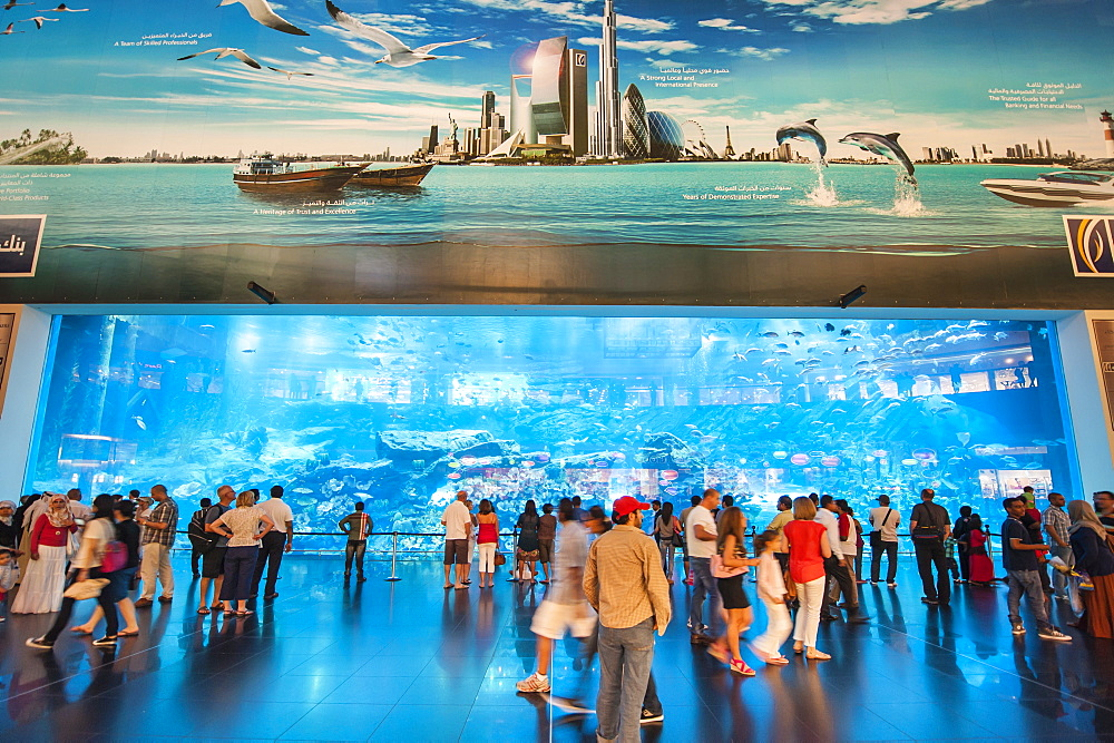 Aquarium at The Dubai Mall, the world's largest mall, Dubai, United Arab Emirates, Middle East