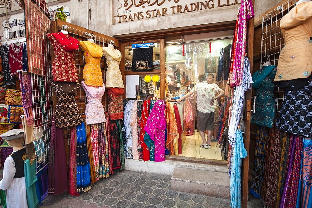 Textile Souk in Bur Dubai, Dubai, United Arab Emirates, Middle East