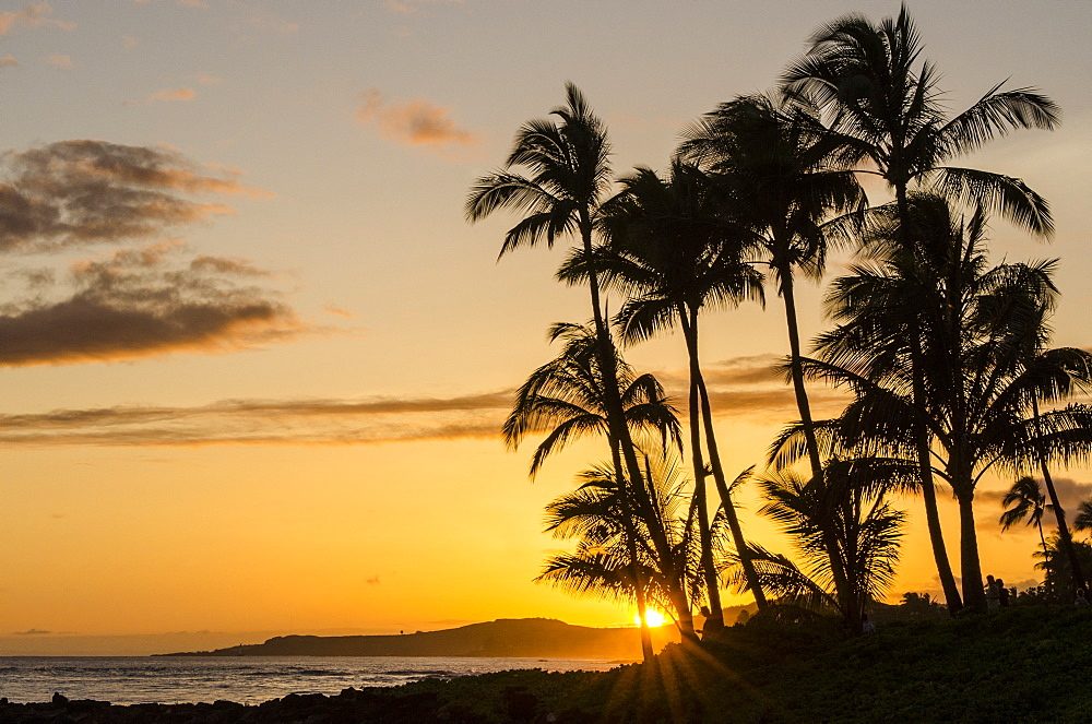 Sunset at Poipu Beach, Kauai, Hawaii, United States of America, Pacific
