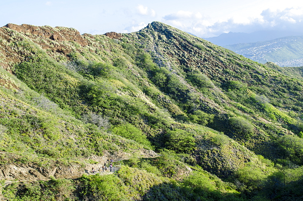 Hiking in Diamond Head State Monument (Leahi Crater), Honolulu, Oahu, Hawaii, United States of America, Pacific