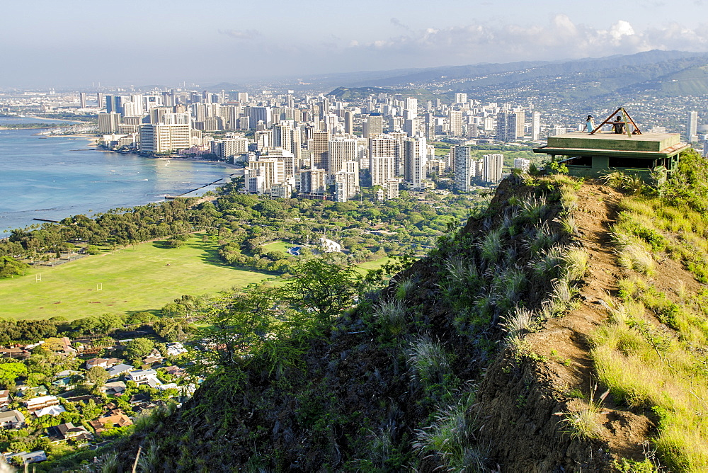 Honolulu from atop Diamond Head State Monument (Leahi Crater), Honolulu, Oahu, Hawaii, United States of America, Pacific